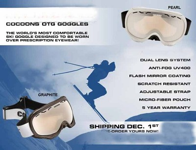 Cocoons OTG Goggles Fitover your prescription glasses